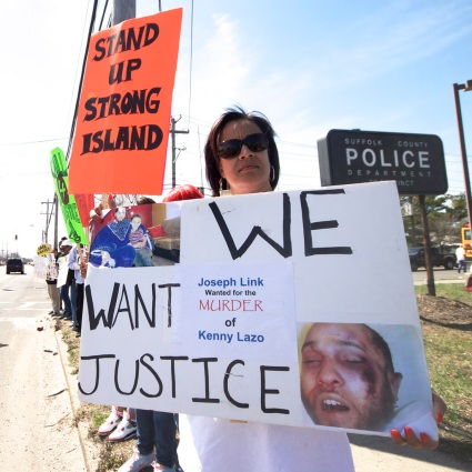 30+ supporters from Long Island attended the vigil this year. In addition to the 40 from NYC, the event was attended by 70+ people. Annual Anti-Police Brutality March in Long Island, April 12th, 2014, Bay Shore, New York.