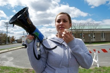 Jennifer Gonzalez, partner of Kenny Lazo, on the bullhorn. Annual Anti-Police Brutality March in Long Island, NY, Bay Shore, April 13th, 2013.